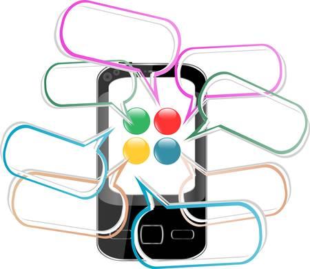 Smart Phone with speech bubble. Created digitally vector Illustration