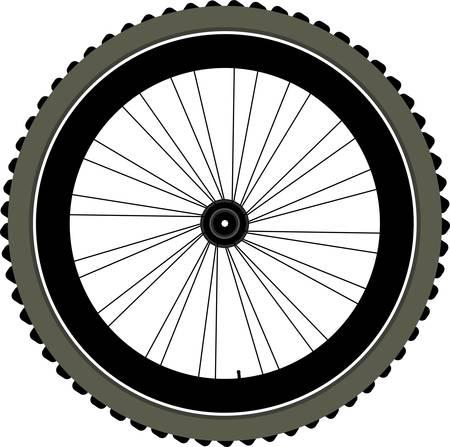 spokes: bicicleta de rueda con llanta y radios aisladas sobre fondo blanco. vector