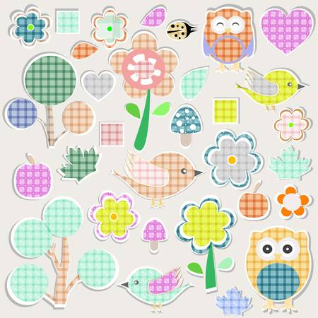 Set of nature textile stickers. scrapbook elements Vector