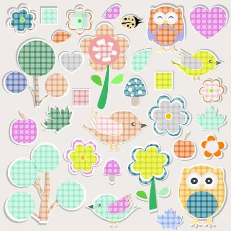 Set of nature textile stickers. scrapbook elements Vector