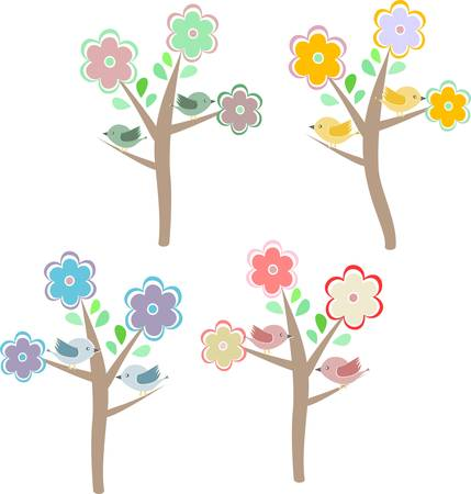 Birds sitting on trees. Four seasons - spring, summer, autumn, winter Vector
