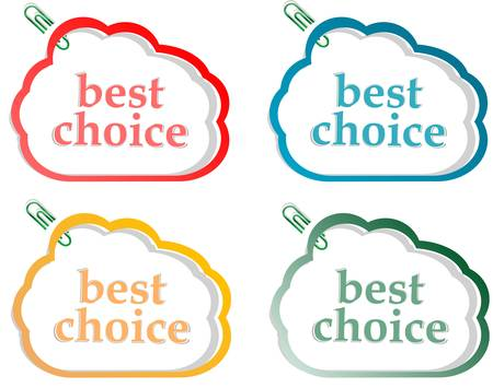 Abstract speech bubbles stickers set with best choice message illustration Stock Vector - 13614773