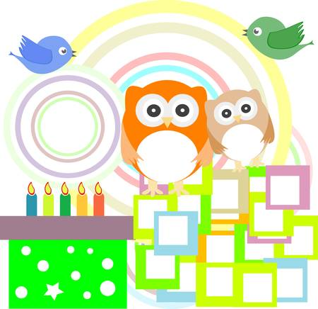 birthday party card with cute owl - holiday Stock Vector - 13614706