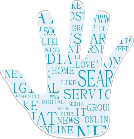 Illustration of the hand symbol, which is composed of text keywords on social media themes Vector
