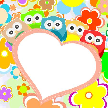 owls, flowers and valentines heart in frame  Vector