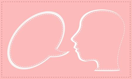Talking head with Speech bubble Stock Vector - 13614870