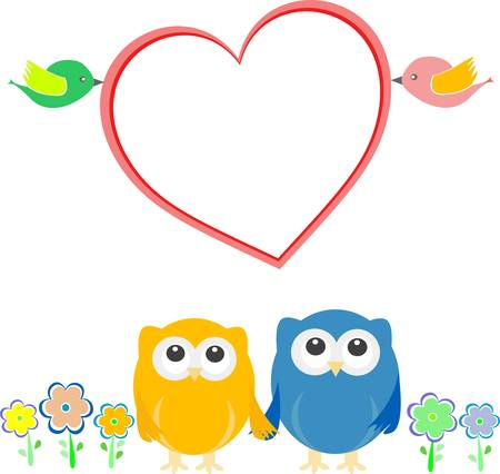 Valentine card with bird couple, owls and love heart Vector