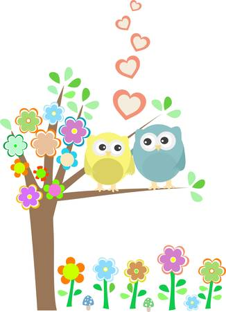 background with owls in love sitting on branch Stock Vector - 13614894