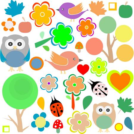 set birds and owls, trees and flowers background Vector