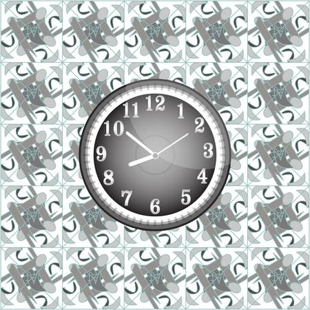 modern wall clock on the grunge background Vector