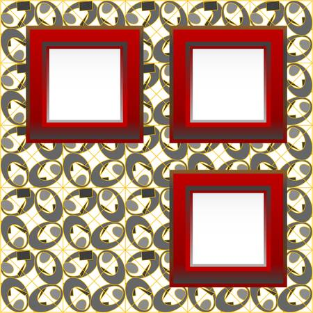 ornamentation: A red picture frame on abstract background