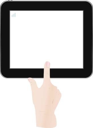 tablet pc in hand: White Tablet PC with man hand