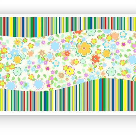 Vintage background with paper card and flowers Vector