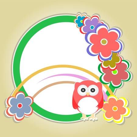 Background with owl, flowers and trees - vector Illustration