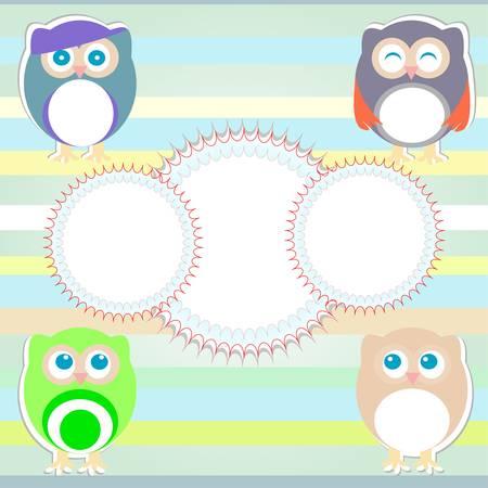 Cute Vector Owl - happy birthday background Stock Vector - 13818038