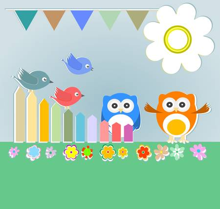 Vector background with couple of owls and birds Vector