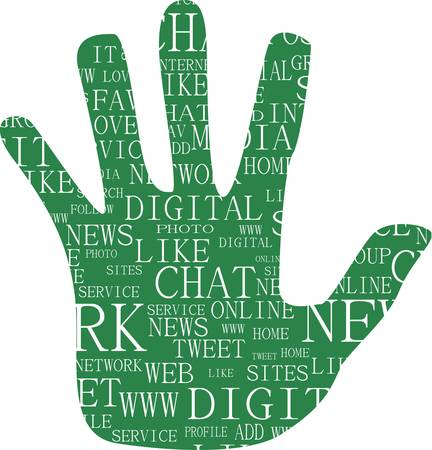 chat up: Illustration of hand, which is composed of text keywords on social media themes. Isolated on white.