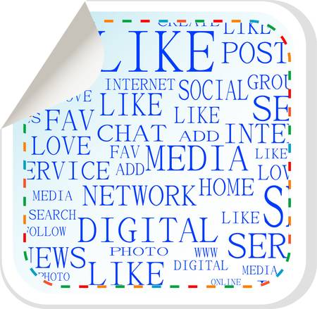 Social media button - vector label sticker Stock Vector - 13818022