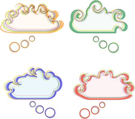 Speech bubbles multicolored vector abstract stickers set Vector