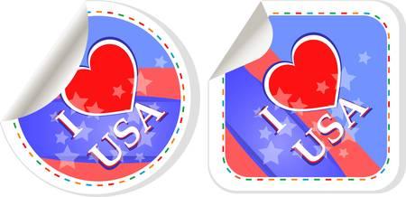 Heart logo I love USA stickers. vector label set Vector