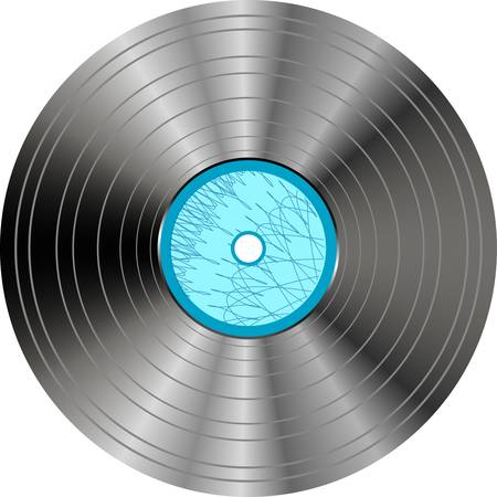 vinyl record with blue label isolated o? white Vector