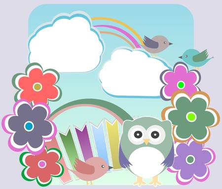 background with owl, flowers birds and clouds Vector