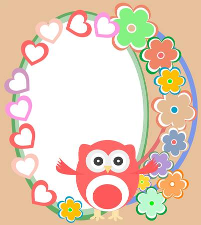 background with flowers and cute owl Vector
