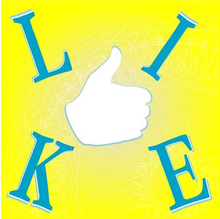 Like hand on yellow background - social network concept Stock Vector - 13825600