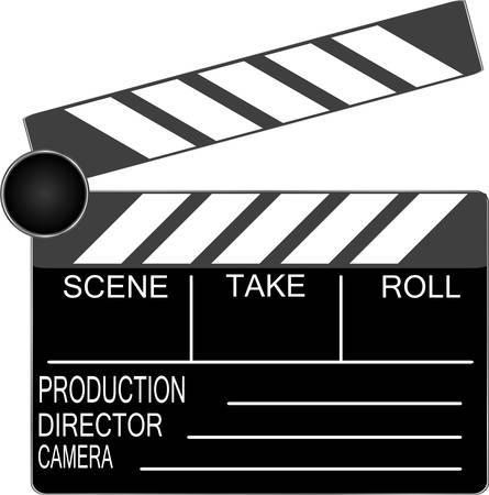 film title: clapper board isolated on white background Illustration
