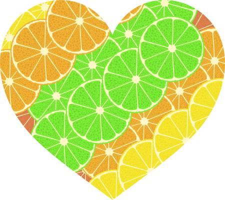 citrus fruit heart. Isolated on white background.  Vector