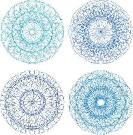 Set of four guilloche rosette. Stock Vector - 13825378