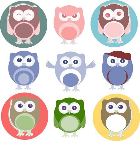 owlet: b�hos de dibujos animados con distintas emociones