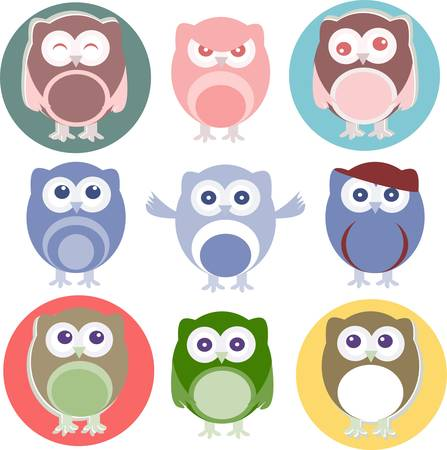 cartoon owls with various emotions Vector