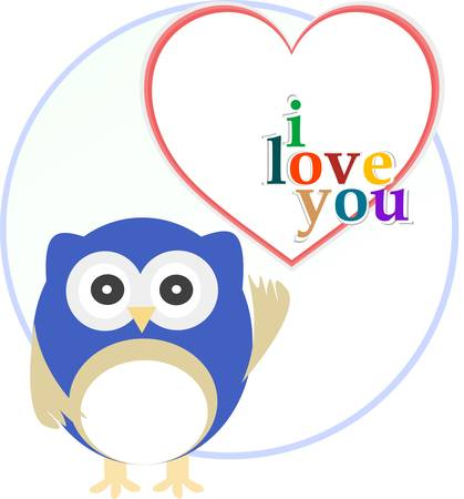 Cute funny owl with love heart. Vector