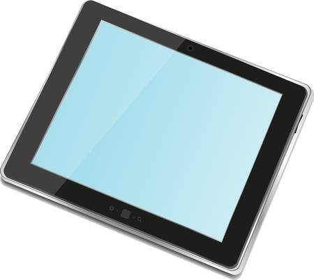 High-detailed black tablet pc with blue screen on white background Vector