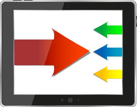 tablet pc with business growth graph isolated Vector