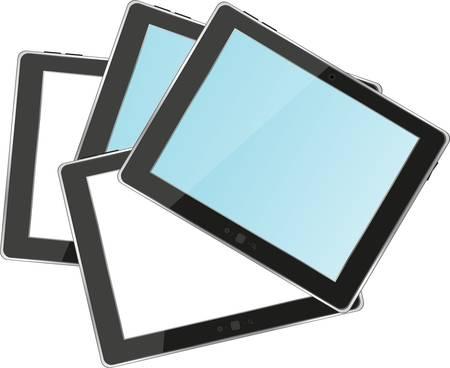 tablets pc with empty white and blue screen and black frame. Object isolated of background. Vector