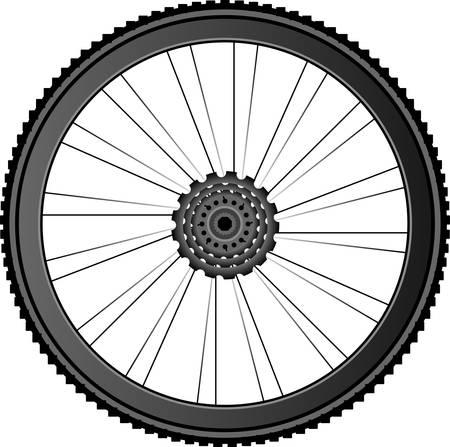 rubber tube: Bike wheel - illustration on white background