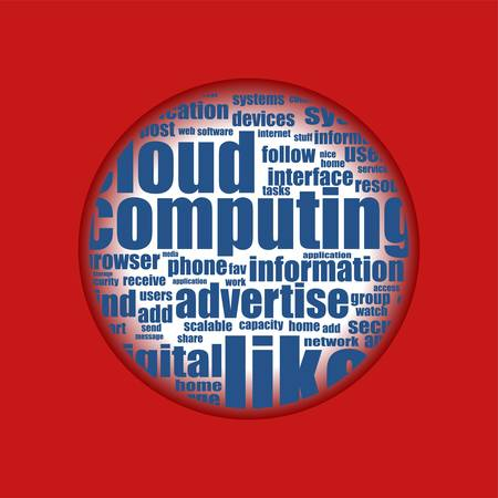 red background with cloud of social media words Vector