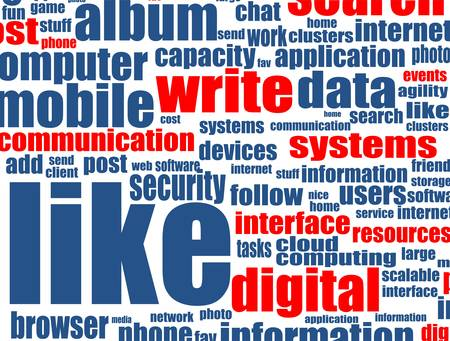 Social media concept with internet related words Vector