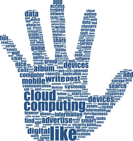 hand which is composed of text keywords on social media themes Vector