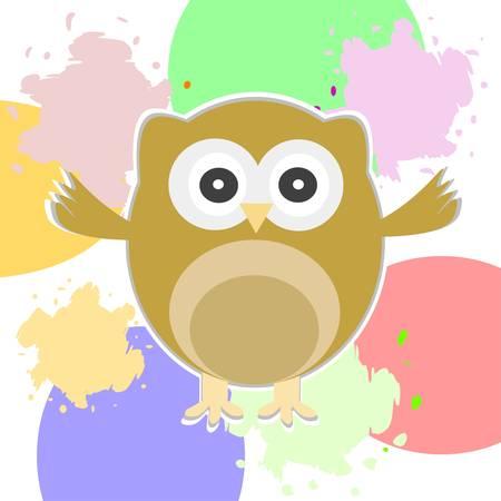 Cute Vector Owl - greetings card Stock Vector - 13933112