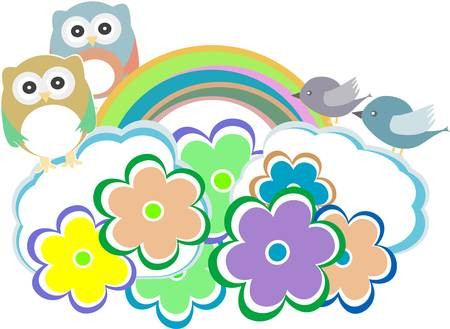 Background with owl, birds and cloud Vector