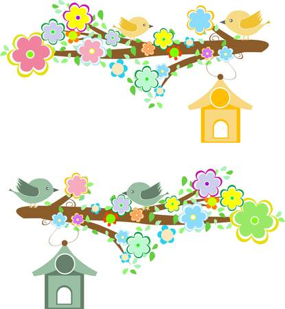 birdhouse: Family of birds sitting on a branch with birdhouses. vector