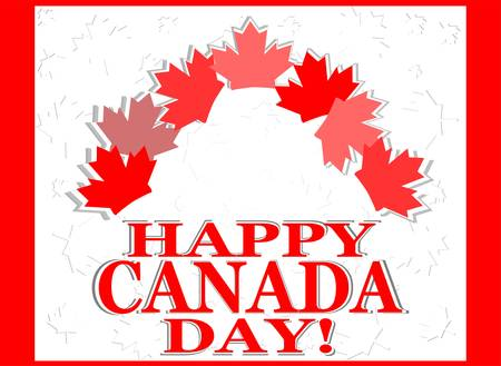 first day: Happy Canada Day vector invitation card with leaves