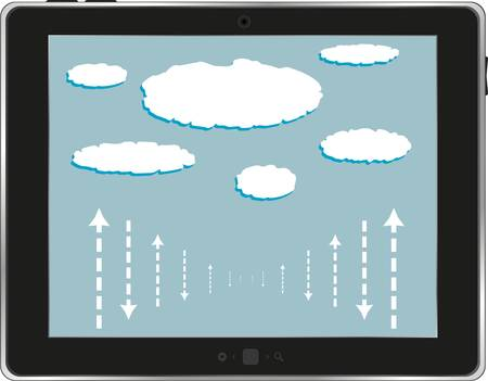 computer tablet with cloud isolated on white background Vector