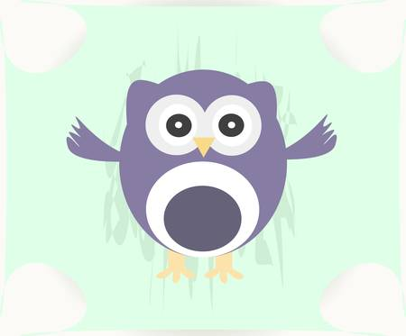 Cute Vector Owl - baby boy card Vector