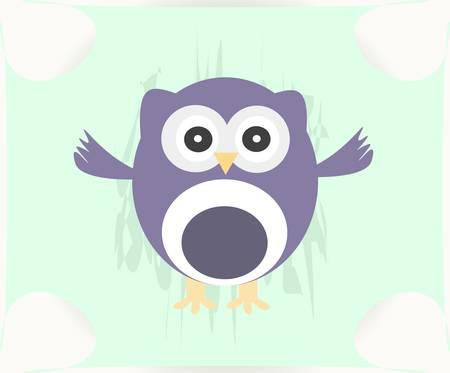 Cute Vector Owl - baby boy card Stock Vector - 13933094