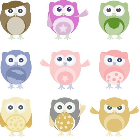 Set of nine vector cartoon owls with various emotions Vector