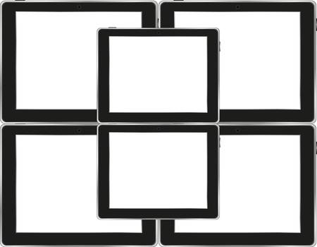 Vector tablets pc with empty white screen and black frame. Object isolated of background Vector
